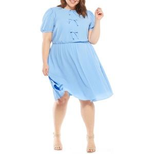 Gal Meets Glam Ellie Crepe Puff Sleeve Blue Dress
